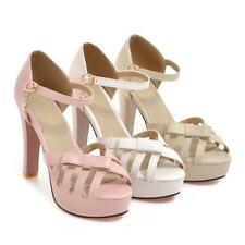 Fashion Womens Party Sandals Platform High Heels Ankle Strap Shoes New 1.2589743