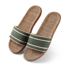 Sage Women Striped Open Toe Flax Linen Slippers Flat House Shoes Scuffs Size 6-9