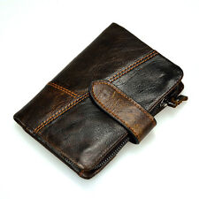 New Men's Genuine Leather Bifold Wallet Credit/ID Card Holder Zipper Coin Purse
