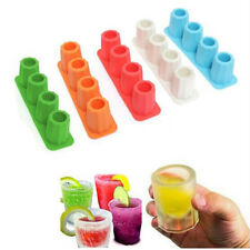 4-Cup Shape Rubber Shooters Ice Cube Shot Glass Freeze Mold Maker Tray Party
