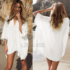 Womens V-Neck Bikini Cover Up Lace Beach Dress Tops Bathing Suit Holiday Kaftan