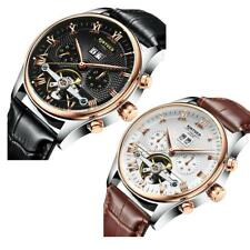 KINYUED Men's Luxury Automatic Mechanical Watch Genuine Leather Band Wristwatch