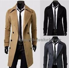 Asian Size Slim Stylish Trench Coat Winter Long Jacket Double Breasted Overcoat