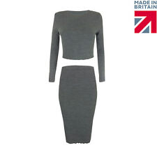 Womens Ladies Knitted Plain Midi Stretch Bodycon Knit Party Skirt Sizes 8-14