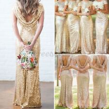 Elegant Women Wedding Party Dress Bridesmaid Evening Sequin Gold Prom Long Ball