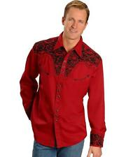 Scully Men's Embroidered Retro Western Shirt - P-634 Red