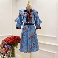 princess dress Printed flowers court womens skirts coat Lotus Leaf bowknot new