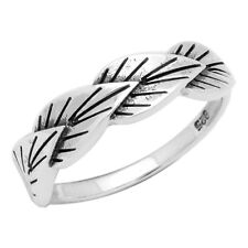 Sterling Silver High Polish 4 Leaves Wrap Around Band Ring