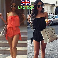 Womens Off Shoulder Mini Playsuit Sexy Ladies Summer Dress Short Jumpsuit Romper