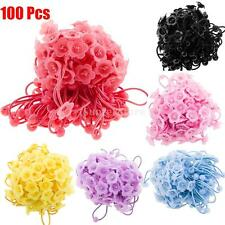 100pcs Rubber Elastic Flower Bowl Headband Hair Rope Hair Bands for Kids Girls