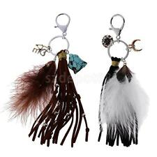 Vintage Feather Tassels Pendant Key Ring Keychain Split Rings B-day Gadget