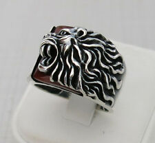 Handmade Zodiac Lion on Natural Red Agate Stone 925 Sterling Silver Men's Ring