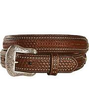 Nocona Men's Ostrich Print Basketweave Billets Leather Belt - N2491844