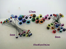 15 PAIR 9mm to 12mm Glass Eyes on Wire Iridescent Colors  teddy bear  ( IR-222 )