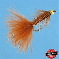 Woolly Bugger BROWN Bead Head Fly Fishing Flies - One Dozen - Sizes Available***