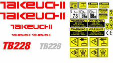 Decal Sticker set for: Takeuchi TB228  Mini Digger Pelle Bagger Excavator