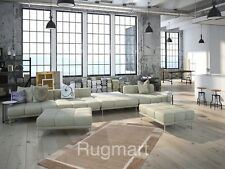 PREMIUM QUALITY Hand Knotted Plain Modern BROWN BEIGE NATURAL Thick Wool Rugs