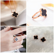 "Beautiful ""Four-leaf Clover"" Black Rose Gold Jewelry Set: Earring+Necklace+Ring"