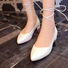 Fashion Lace Up Womens Flats Pointy Toe ballet Flats Cute Shoes Slingback New