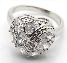 18K White GF Cocktail Ring CZ Crystals Heart Shape Star Center Fashion Jewelry