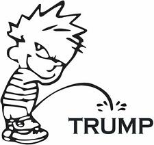 PISS ON TRUMP Donald Vinyl Decal CHOOSE SIZE/COLOR boy peeing Hillary Calvin