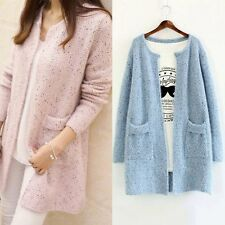 Women's Long Sleeve Knitted Cardigan Loose Top Casual Sweater Outwear Coat AU