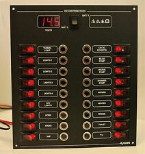18 Way Marine Circuit Breaker & Switch Panel with Digital Voltmeter