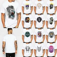 Summer Short Sleeve Lion Crown Print T-shirt Mens O-Neck Rock Top Blouse T Shirt