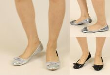 WOMENS LADIES SEQUIN BALLERINA SLIP ON DOLLY PUMP FLAT CASUAL SHOES