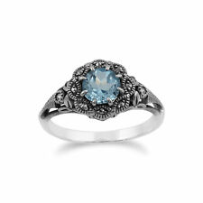 Gemondo Sterling Silver Blue Topaz & Marcasite Ring
