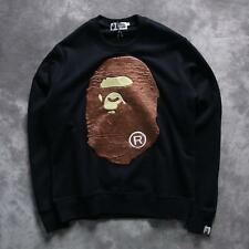 New Men's Japan Bape Suede Mushroom Pattern Jacket Cotton Ape Round Neck Sweater