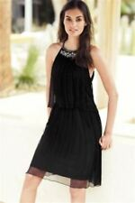 BNWT New NEXT Black Tiered Chiffon Silver Beaded Neck Two In One Dress size 14
