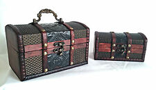 Wooden Trinket Box /Treasure Chest -  Metal Embossed Design - Decorative Boxes