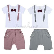 Baby Boys Summer Bow Outfit Shorts Pants & T-shirt Top Set Stripe Suits Outfit