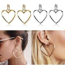 1 Pair Women Double Heart Dangle Gold Silver Earrings Love Heart Hoop Earrings