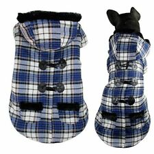 Plaid Hoodie Coat Jacket Small Medium Large Dog Clothes Costume XS~5XL New Blue