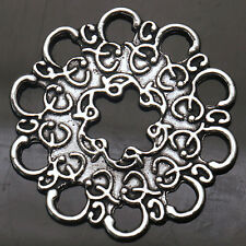 Tibetan Silver Charms Crafts Jewelry Flowers Connectors Fit Necklace 34X34mm