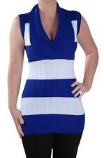 Womens Striped Knitted Sleeveless V Neck Ladies Stretch Ladies Jumper Sweater