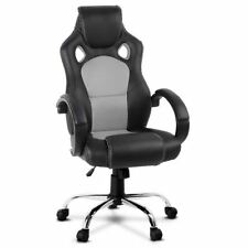 Leather Racing Office Chair - Grey