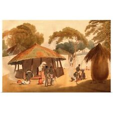 Poster Print Wall Art entitled Booshuana Village, Southern African Village