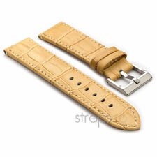 StrapsCo Embossed Leather Watch Band Men Womens Crocodile Strap in Sand