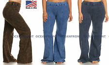T-Party PLUS SIZE Solid Color Mineral Wash Yoga Pants XL 1X 2X Blue Denim Look
