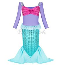 Child Kids Little Mermaid Princess Fancy Costume Girls Party Shiny Dress Outfit