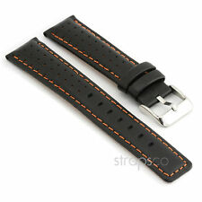 StrapsCo Rally Racing Perforated Leather Watch Band Strap in Black