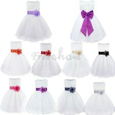 Baby Flower Girl Princess Dress Kids Bows Wedding Party Bridesmaid Tutu Dresses