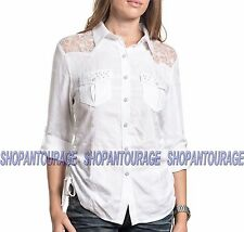 AFFLICTION Endless Roads 111WV146 Women`s New White L/Sleeve Button-Down Shirt