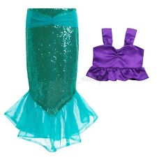 Kids Ariel Little Mermaid Set Girl Princess Dress Party Cosplay Costume Outfits