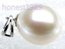 Genuine AAA+++ fine drop white south sea pearl pendant solid 14k white gold gift