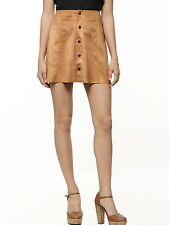 BUTTONUP TRENDY  MINI PARTY LEATHER SKIRT REAL SUEDE LEATHER WOMEN LEATHER SKIRT