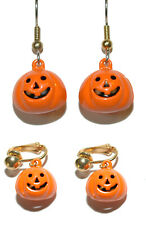 CUTE PUMPKIN JINGLE BELL PIERCED or CLIP ON DANGLE EARRINGS (H180)